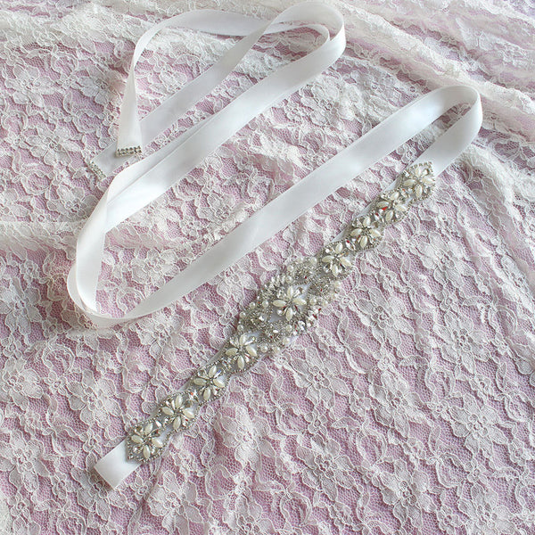 #05608281 Beautiful Ivory Bridal Ribbon Sash with Rhinestones and Imitation Pearls