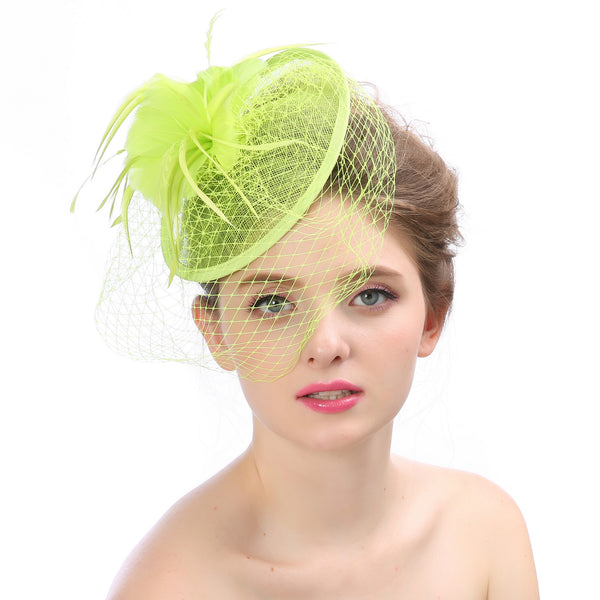 #06948078 Classic Linen Fascinators With Feather / Mash Veil