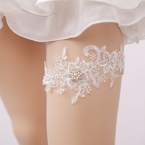 #05028167 Sexy Lace Garter with Rhinestones and Imitation Pearls Embellishment