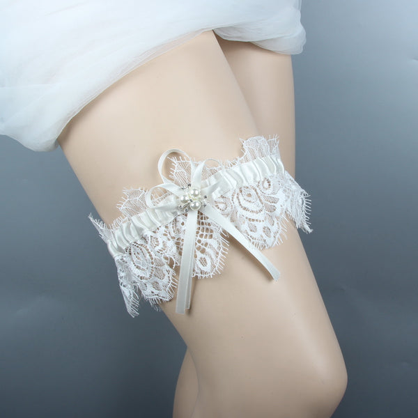 #04028157 Elegant Ivory Satin with Lace Wedding Garter