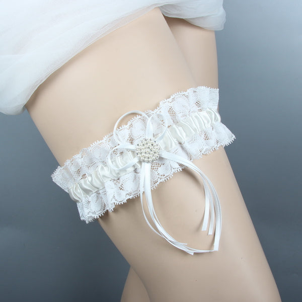 #04028158 Ivory Elegant Satin Garter with Lace and Pearls decoration.