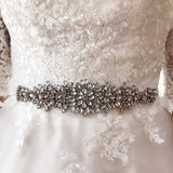 #06608282 Elegant Bridal Ivory Ribbon Sash with Rhinestones Applique