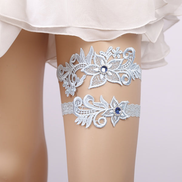 #07028168 Elegant Sky Blue Lace Garter with Rhinestones Embellishment