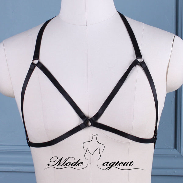 #02089002 Body Harness Lingerie Goth Crop Tops