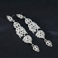 #02538101 Ladies' Long Alloy/ Rhinestone Drop Earrings