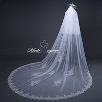 FREE SHIPPING#20308017 3*3.8 Meter Sequins Lace Applique Edge 2-tier Cathedral Bridal Veil with Comb
