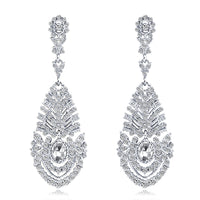 #02538104 Ladies' Long Teardrop-shaped Ally/Rhinestone Drop Earrings