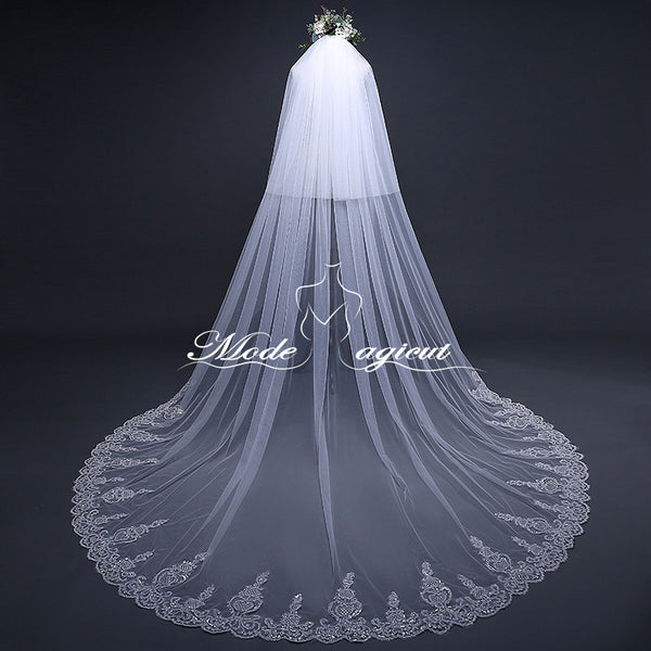 FREE SHIPPING#19308015 3.8*3 Meter Two-tier Sequins Lace Applique Cathedral Bridal Veils with Comb