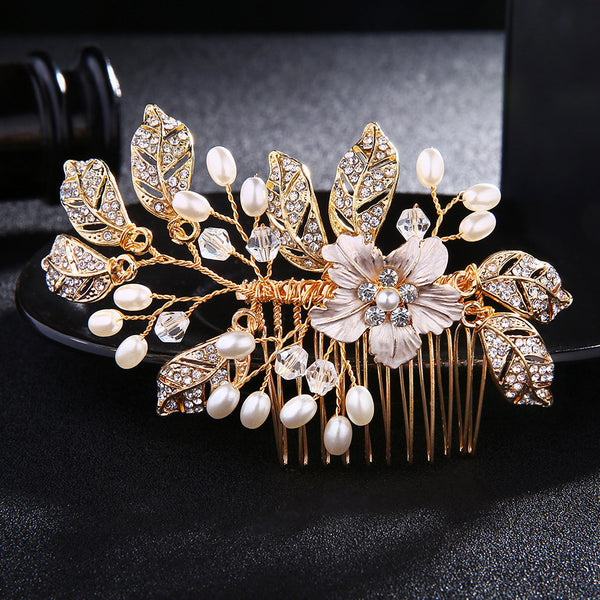 #04449021 Golden Flower style Rhinestone, Imitation Pearls Combs & Barrettes