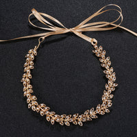 #04419019 Rhinestone and Alloy Leaves shape Headband