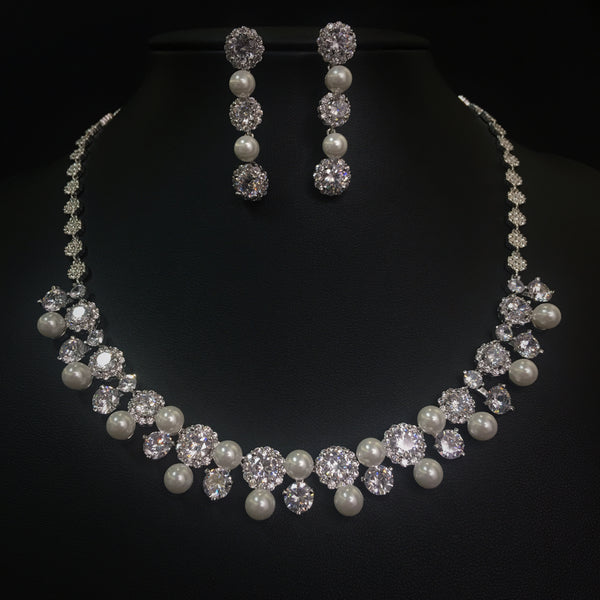 FREE SHIPPING JS1839103 2018 Luxurious Cubic Zirconia Jewelry Set, Wedding necklace set