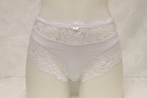 Women's Everyday Comfort High Waist High-cut Brief with Lace Trimming