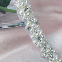 Free Shipping in Canada #048039002 Bridal Ribbon Sash Rhinestones and Imitation Pearls