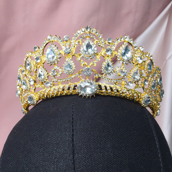 #07439028 Rhinestone Tiara Available Golden and Sliver