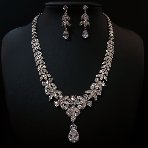 FREE SHIPPING JS1839301 2018 Luxurious Cubic Zirconia Jewelry Set, Wedding necklace set
