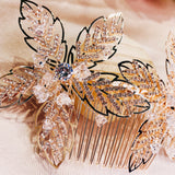 #044222062 Rhinestone Hair Comb Available Color Golden &Rose Gold