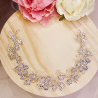 #08410013 Rhinestones Flowers Headband with Imitation Pearls