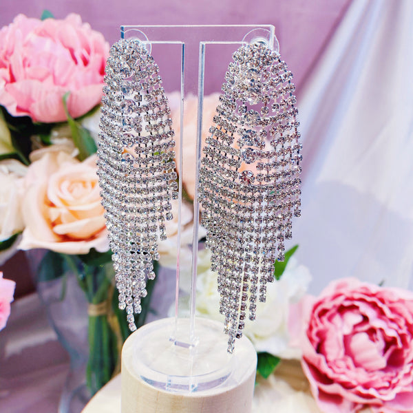 #01538004 Rhinestones Earrings (Silver, Golden) 9.5cm*3cm
