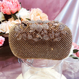 #12819102 Roses cover Rhinestone Clutches (Golden, Silver, Black)