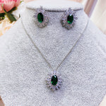 #09522006 Cubic Zirconia Vintage Diamond Pendant Set (Green, Blue, Silver)