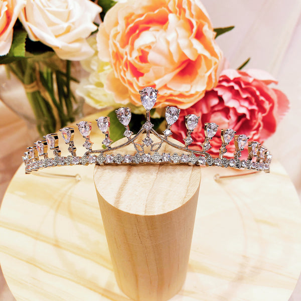 #07432078 Cubic Zirconia, Rhodium-Plated Tiara (Silver, Golden)
