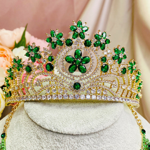 #36432007 Golden & Green Cubic Zirconia Crown