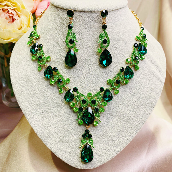#05510119 Rhinestone Colorful Jewelry Set