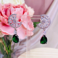 #06538106 Cubic Zirconia Earrings (Green, Blue, Silver)