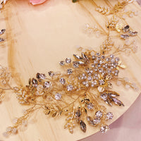 #09410012 Rhinestone Crystal Golden Headband