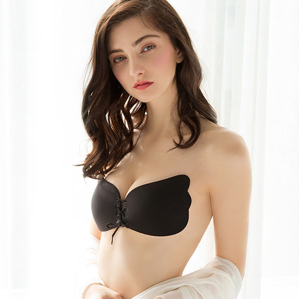 Feminine Chinlon Spandex Strapless Wireless Bra Nipple Covers