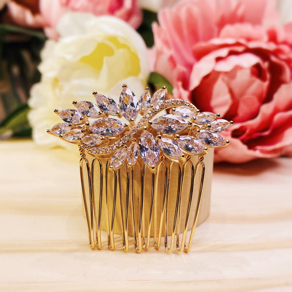 #06419033 Golden Cubic Zirconia Hair Comb