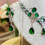 #18522020 Cubic Zirconia Jewelry Set (Green,Blue,Silver)