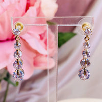 #06538109 Cubic Zirconia Earrings (Silver, Golden) 30mm*6mm