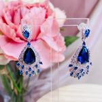 #06538107  Cubic Zirconia Earrings (Silver, Blue)