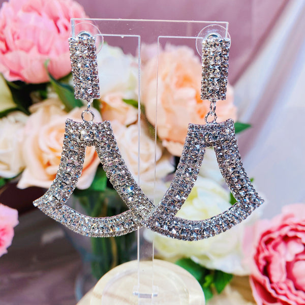 #01538006 Rhinestones Earrings Silver 7cm*4.5cm