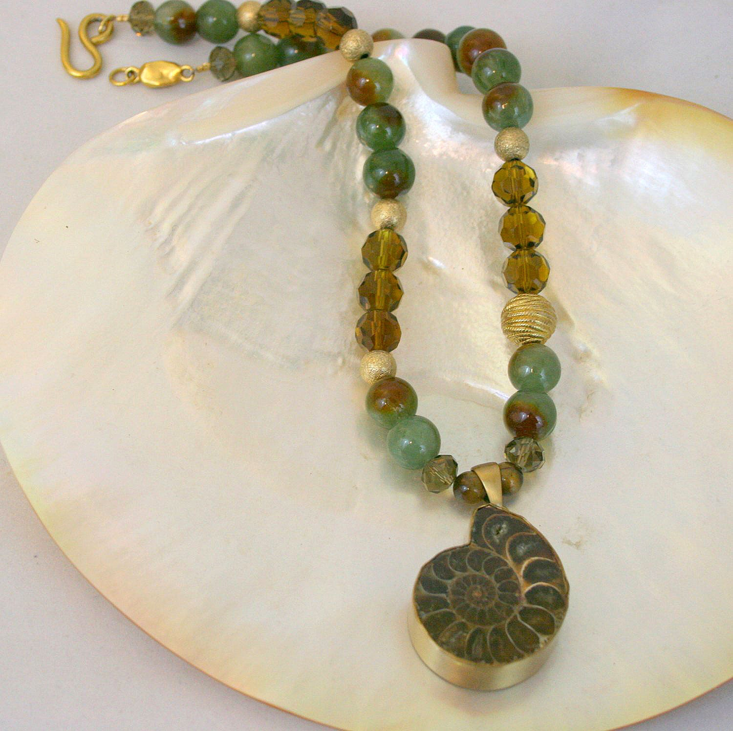 Jasper and Orthoceres fossil macrame statement necklace