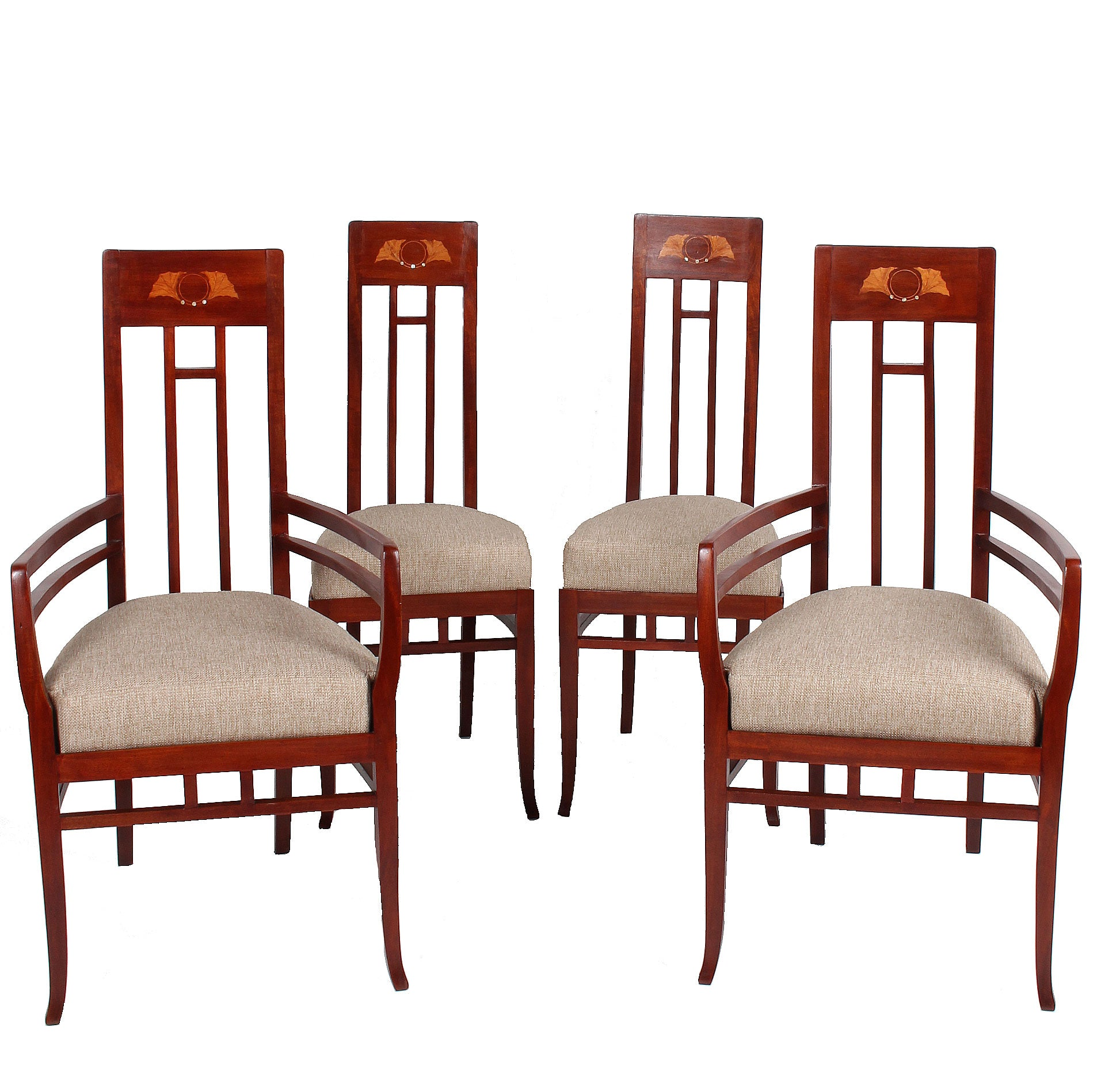 Italian Art Nouveau High Back Chairs Set Of 4 Fatto A Mano Antiques