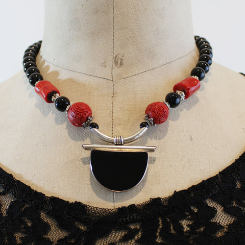 Asian Flair Necklace with Coral, Cinnabar and Onyx