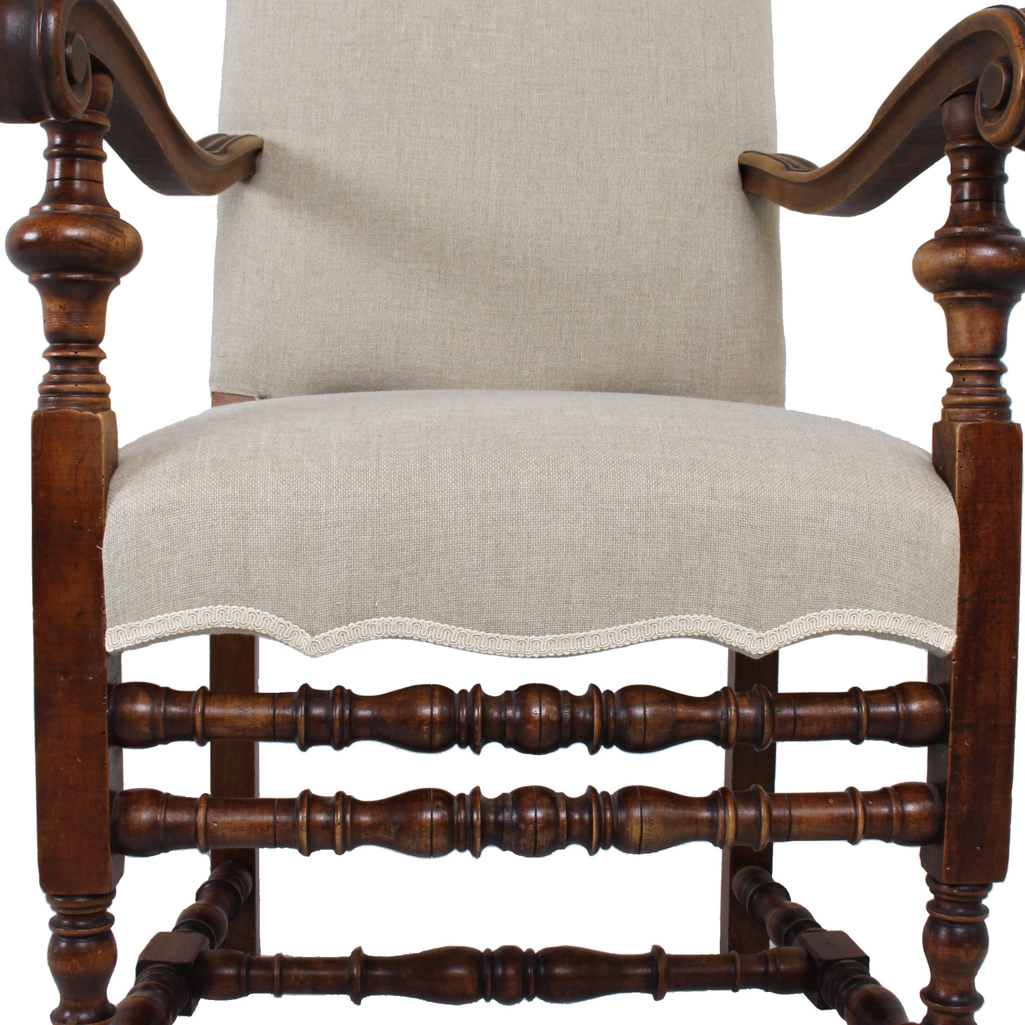 Italian Baroque Style Walnut Armchair   Fatto A Mano Antiques   9 ...