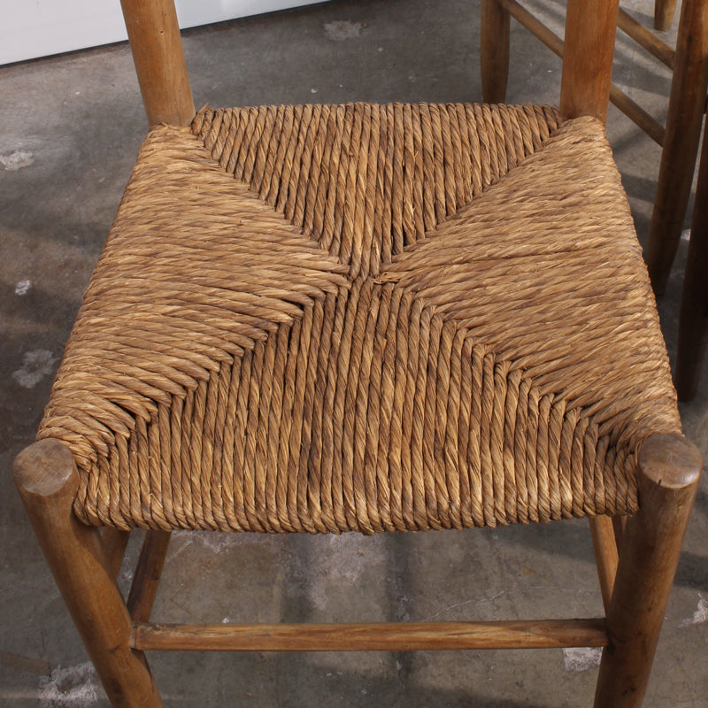 Set Of 4 Rush Seat Italian Chestnut Chairs