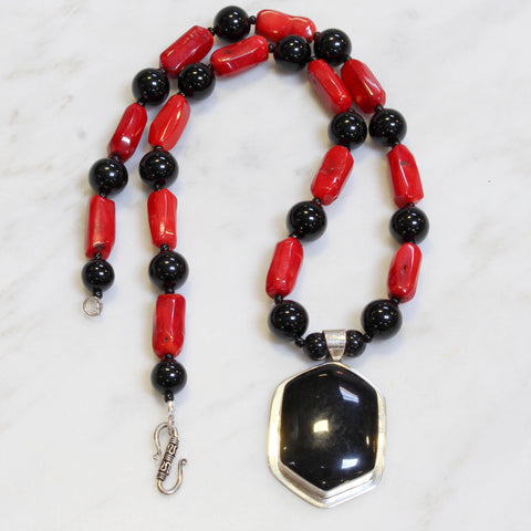 Red Coral and Onyx Necklace