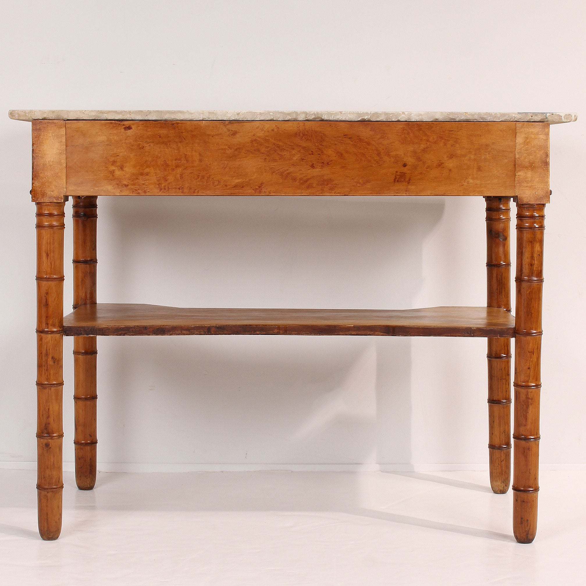 Faux Bamboo Console Table With Marble Top