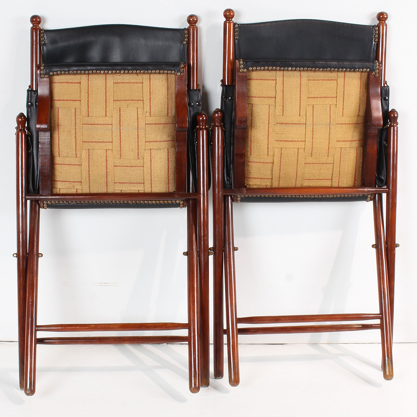 Pair Vintage Italian Campaign Style Folding Chairs
