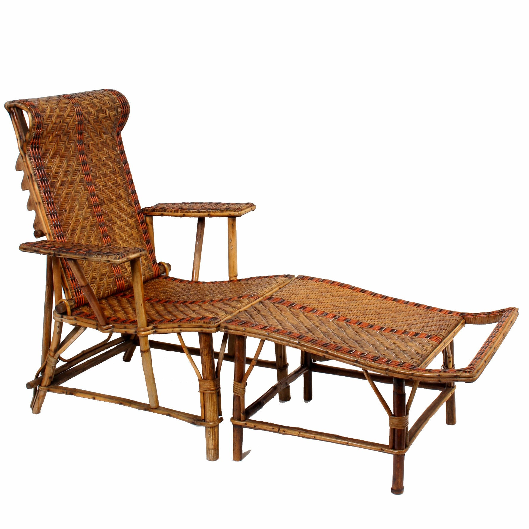 vintage french bamboo rattan chaise lounge fatto a. Black Bedroom Furniture Sets. Home Design Ideas
