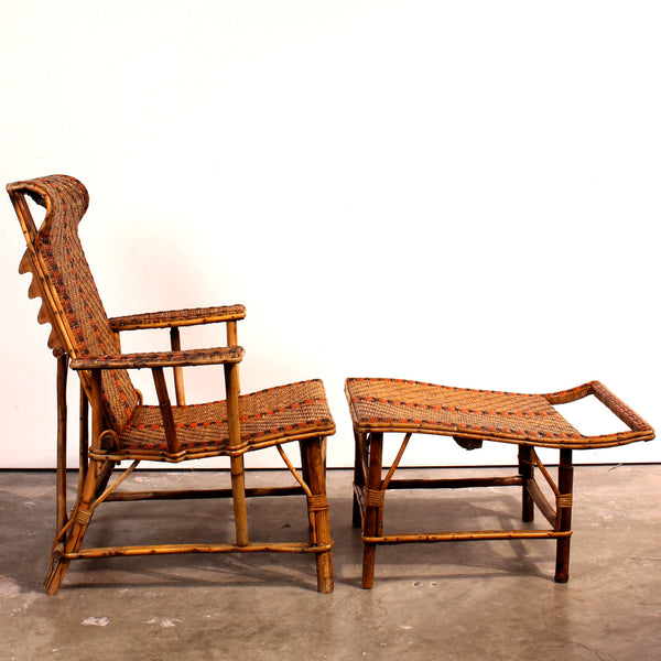 Vintage french bamboo rattan chaise lounge fatto a for Antique french chaise lounge
