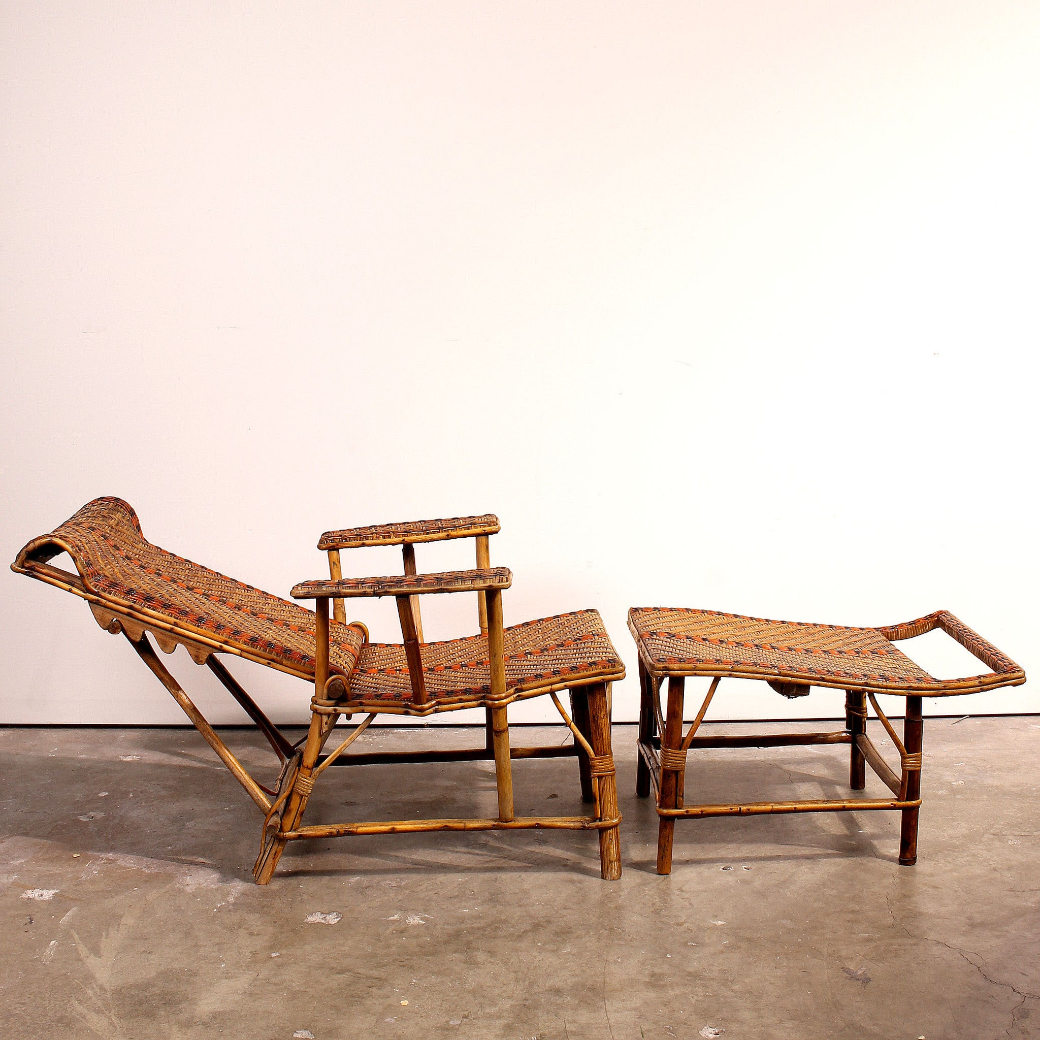 antiques bamboo french mano rattan fatto vintage products a chaise lounge