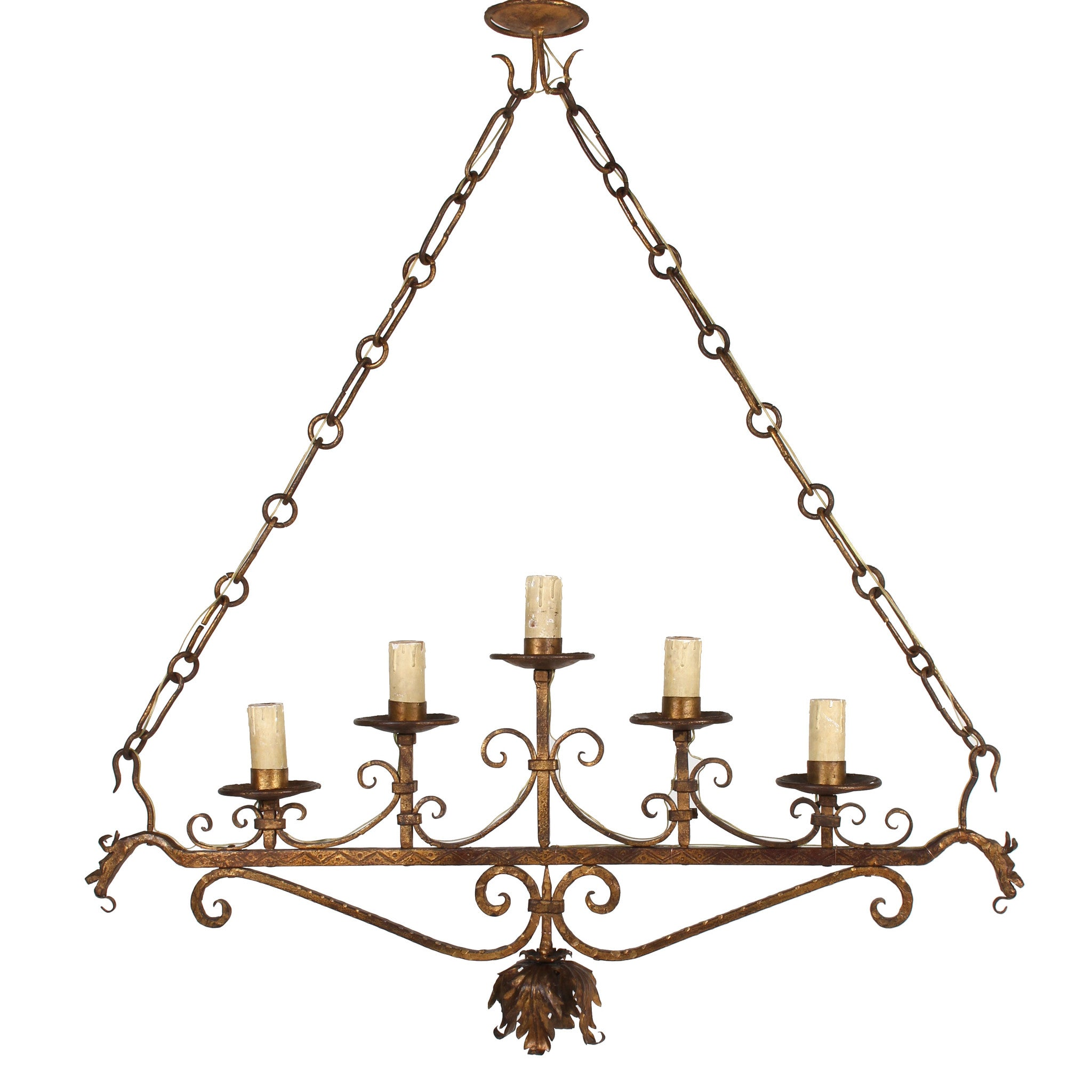 Vintage Italian Gilt Iron SixLight Fixture Fatto A Mano Antiques - Italian light fixtures