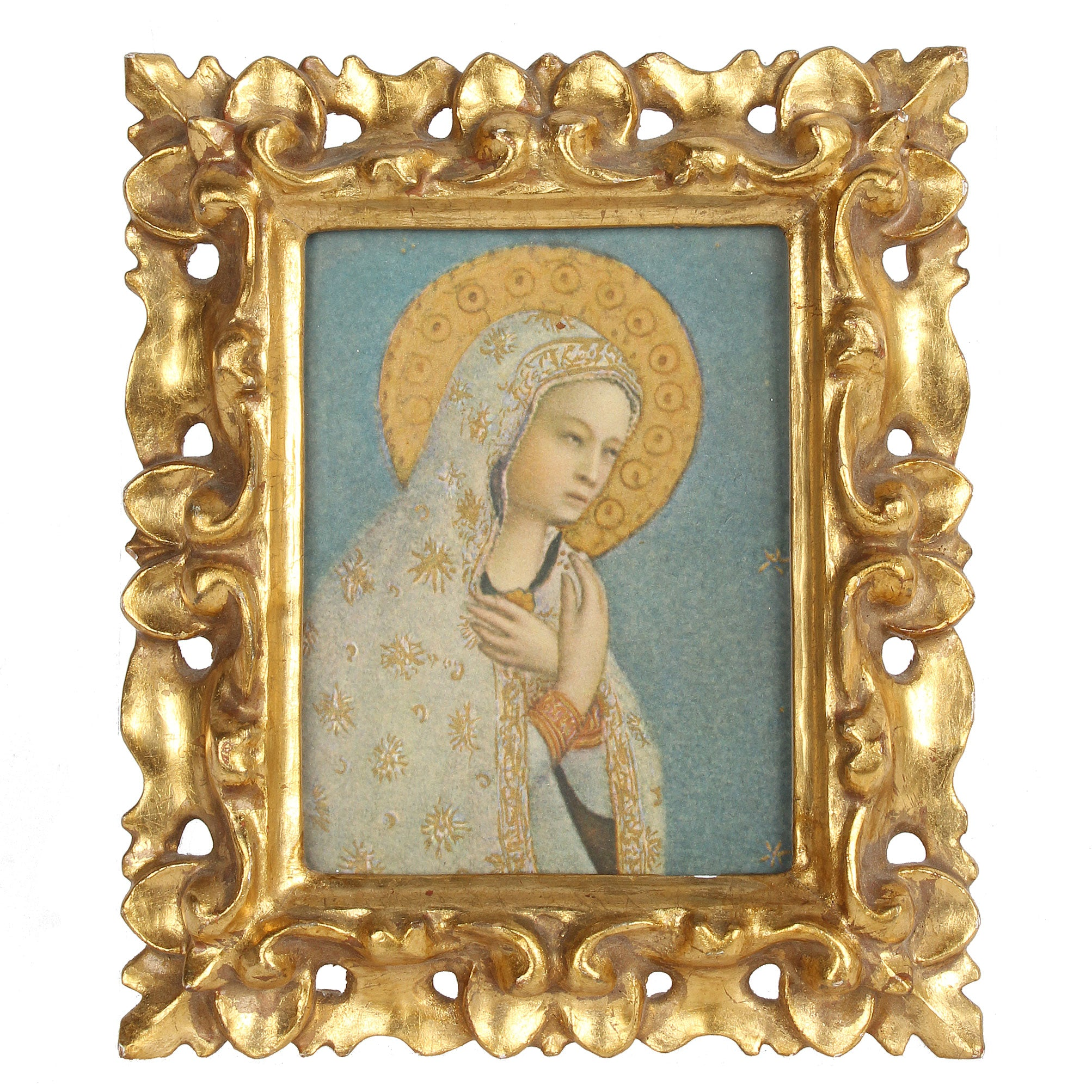 Small Vintage Florentine Gilt Frame With Madonna Image Fatto A