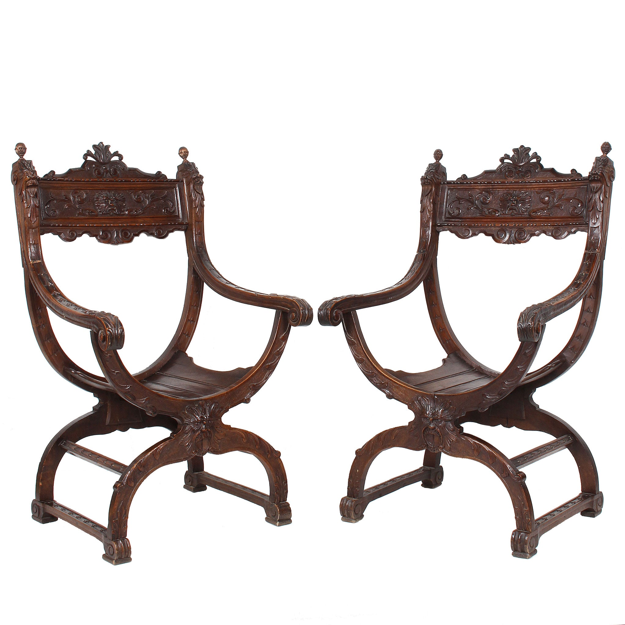 Italian Pair Carved Walnut Renaissance Style Armchairs Fatto A