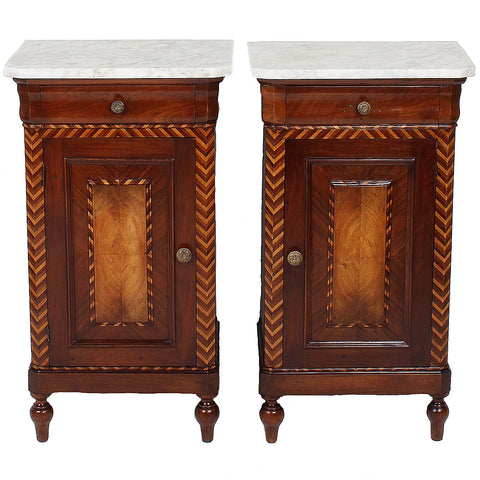 Italian Marble Top Nightstands with Chevron Inlay - Antique & Vintage Furniture - Fatto A Mano Antiques